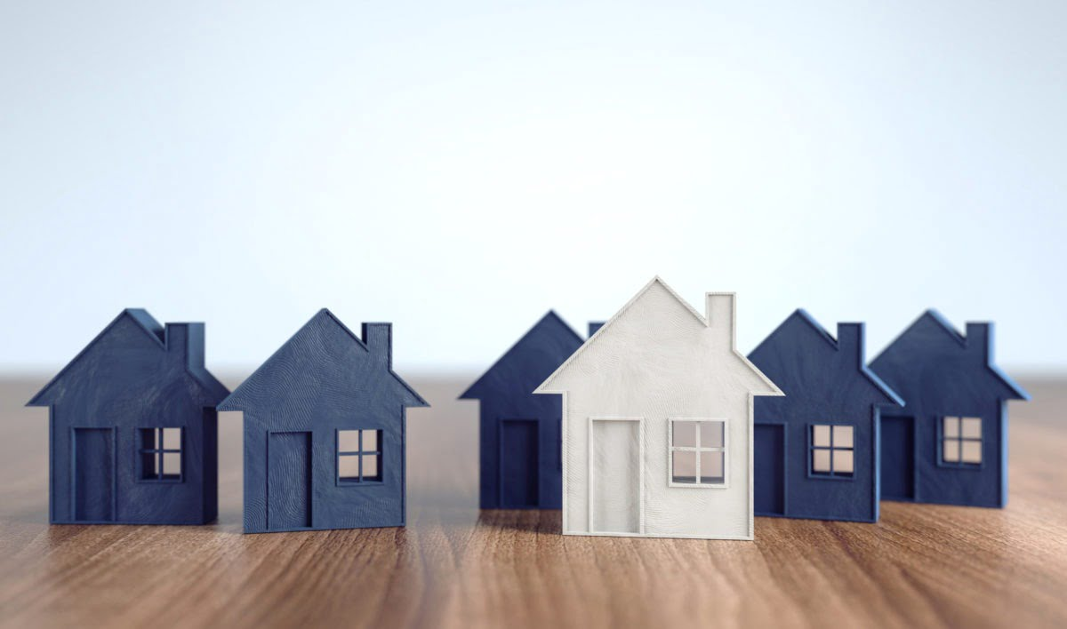 Blue and white toy houses