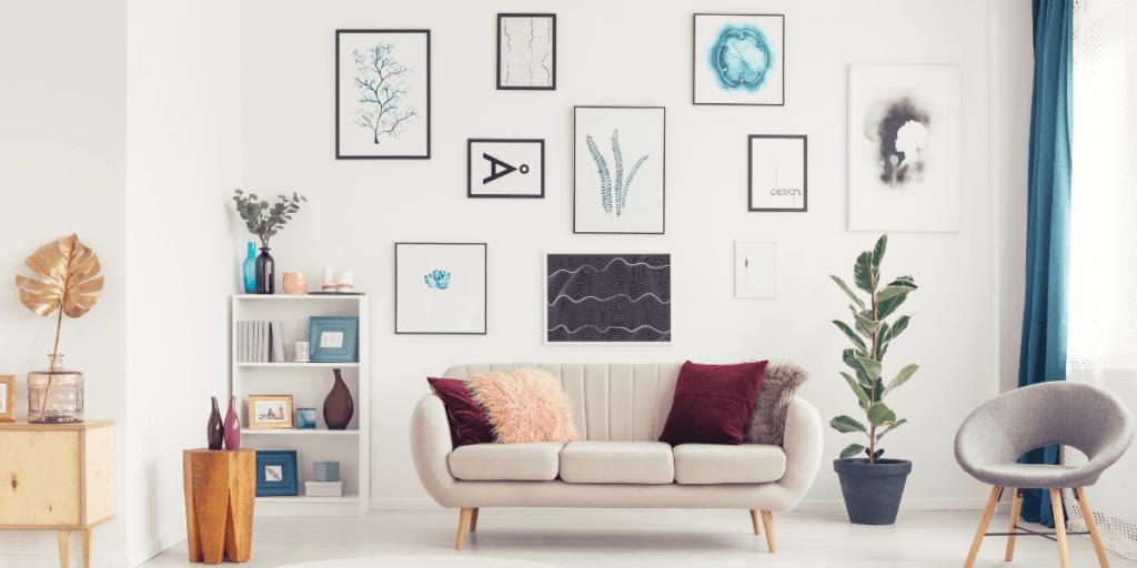 art on a living room wall
